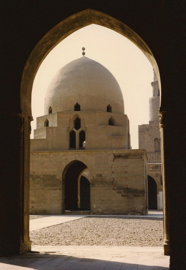 View of the domed ablution fountain (sahn) from the riwaq