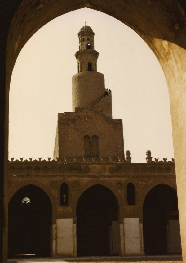 The spiraling minaret of the Mosque of ibn Tulun
