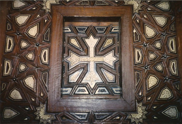 Detail of a wooden panel at the Church of St. Sergius