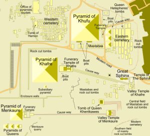 Map of Giza Plateau (courtesy of Wikimedia Commons)