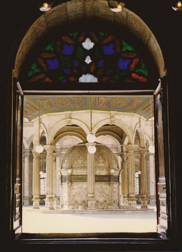 View of the ablution fountain through the western door