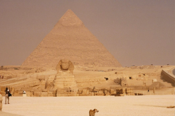 The Pyramid of Khafre with the Great Sphinx and a canine friend