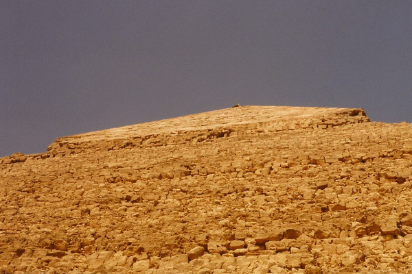 Looking up the side of Khafre's Pyramid at its limestone layer high above