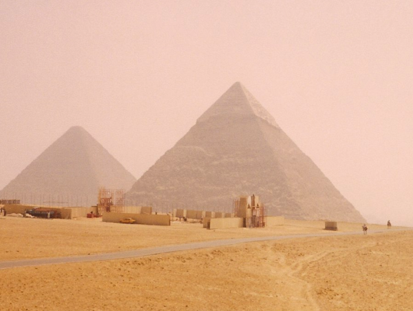 Khafre's Pyramid on the horizon, with Khufu's Pyramid in the background