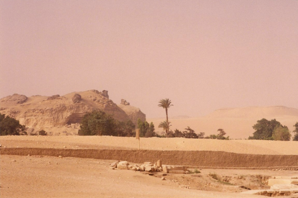 The bank of a road leading from Cairo to the plateau