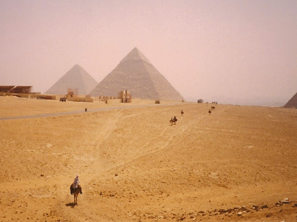 The pyramids of Khafre and Khufu