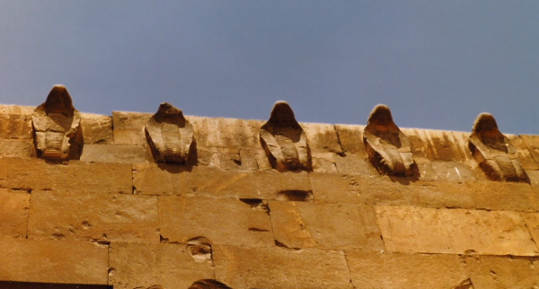 Looking up at the cobra frieze of the Southern Tomb