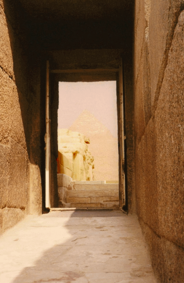 The exit corridor to the causeway, with Khafre's Pyramid beyond