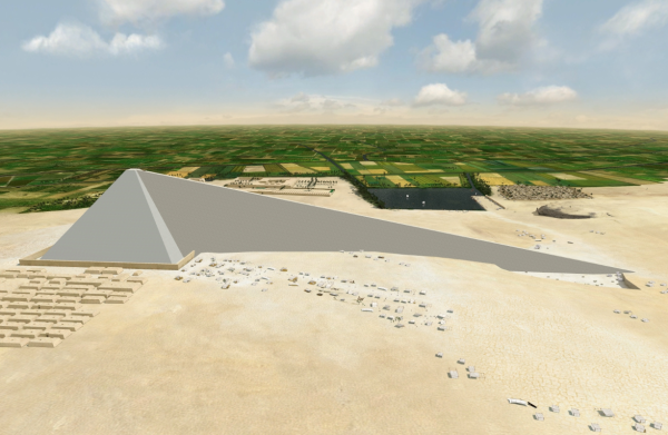 The Straight Ramp—Ninth Wonder of the Ancient World?  Not only would it have been as large a project as the pyramid itself, where did it go?  (Courtesy of Jean-Pierre Houdin and Dassault Systèmes)