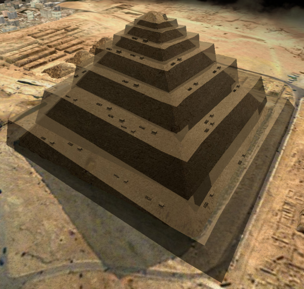The Wide External Spiral Ramp—this is how a stable external ramp would have appeared, but there is no way to survey the sides of the pyramid and control its shape during construction.  (Courtesy of Jean-Pierre Houdin and Dassault Systèmes)