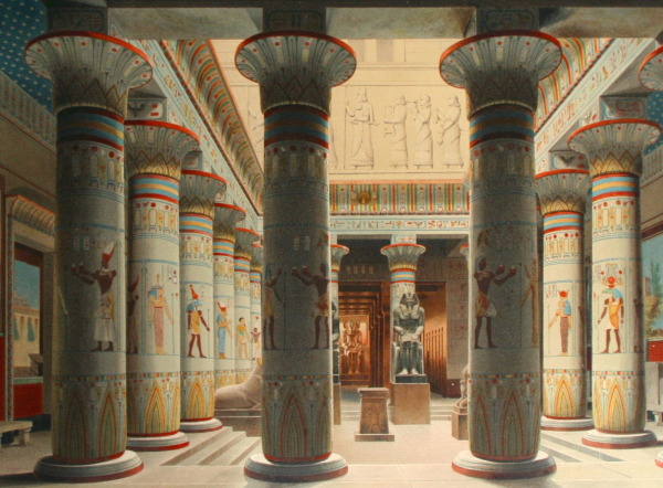 A depiction of the Neues Museum circa 1862.  It was destroyed during WWII but has been recently restored and will reopen October 17, 2009.  From a lithograph by Eduard Gaertner.