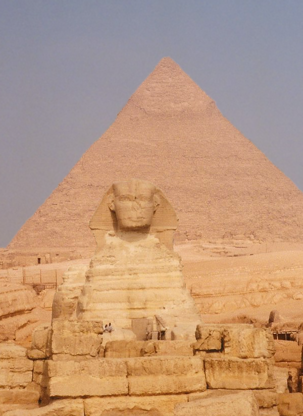 The Great Sphinx of Giza crouches behind the ruins of the Old Kingdom Sphinx Temple and before the Pyramid of Khafre (Photo by Keith Payne)