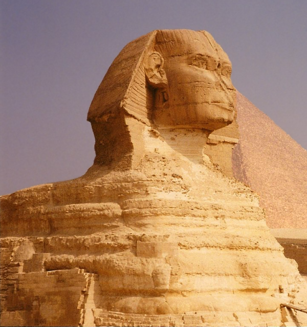 The head of the Great Sphinx, which is carved from a harder layer of limestone than the body, shows much less erosion, but is that the only reason for its smoother appearance (Photo by Keith Payne)