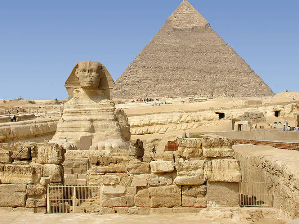 The eastern wall of the Old Kingdom Temple of the Sphinx, which lies just to the east of the Sphinx itself (Photo by Jon Bodsworth)