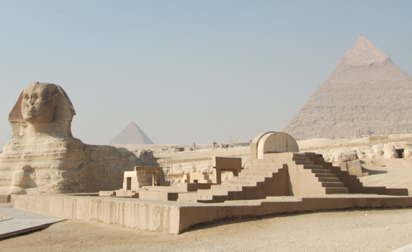 The Great Sphinx as viewed from behind the New Kingdom Temple of Horemakhet built by Amenhotep II during the Eighteenth Dynasty (Photo by Francesco Gasparetti)