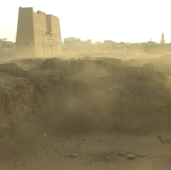 The pylons of the Great Temple of Horus as seen from Tell Edfu (Photo by Gregory Marouard, Tell Edfu Project)