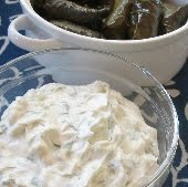 Tzatziki and stuffed grape leaves