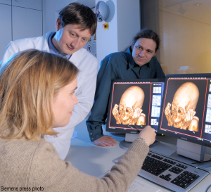 Dr. Ruhli and team examine the CT scan of a mummy (Photo courtesy of Siemens AG)