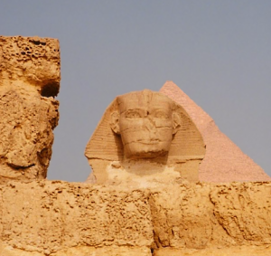 The Great Sphinx as viewed from the ruins of the Old Kingdom Sphinx Temple (Photo by Keith Payne)