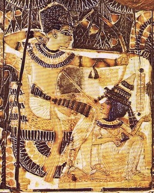 Tutankhamun seated while bird hunting