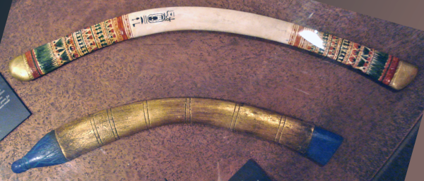 Replicas of throwing sticks found in Tutankhamun's tomb, which would have been used for hunting (Photo by Dr. Günter Bechly)