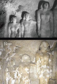 Deterioration of tomb wall statues just from 1927 to present day (Courtesy of Boston MFA External Relations Department)