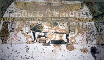 A scene from Khabekhnet's tomb depicting his mummification (Photo by Helmut Satzinger, courtesy of Lenka and Andy Peacock)