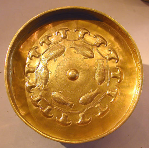 Ritual objects such as this solid gold bowl from the tomb of Djehuty, an Eighteenth Dynasty General, may have been handed over to fund the war during the Third Intermediate Period (Photo by Jon Bodsworth)
