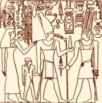 Ahmose I makes an offering to Amun in a scene from the Donation Stele