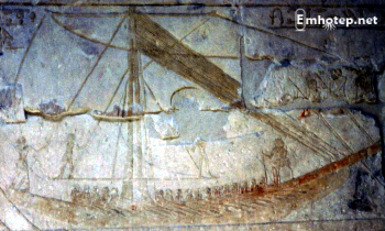 Hemienu and his entourage would have sailed the Nile in a more luxuriously appointed barge than this one, from the tomb of Vizier Mereruka, but the scale was probably about the same (Photo by Keith Payne)