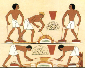 This reproduction of a scene from the Eighteenth Dynasty tomb of Rekhmire shows metal workers stoking a fire and smelting ore. Although much later than Hemienu's time, the methods and tools remained largely the same (Graphic by Achille-Constant-Theodore Emile Prisse d'Avennes)