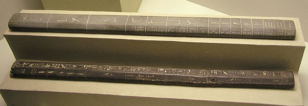 Cubit measuring rods such as these from the Eighteenth Dynasty tomb of Aperia would have been common tools in the quarries and at the pyramid construction site (Photo by Jon Bodsworth)