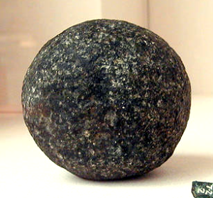 A spherical dolerite pounder left behind in the Great Pyramid. These pounders were harder than the Aswan granite, which couldn't be shaped with copper tools (Photo by Jon Bodsworth)