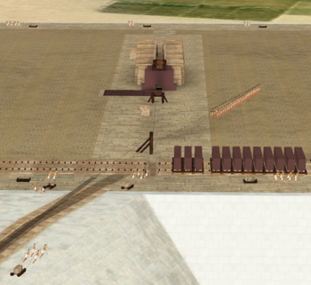 Granite beams lined up on the King's Chamber level of the pyramid. The large team of workers on the right is pulling another great beam (not depicted) up the ramp with aid of counter-weight machinery housed in the Grand Gallery, top center (Graphic courtesy of Jean-Pierre Houdin/Dassault Systems)