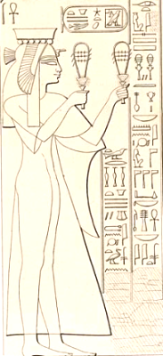 Princess Henuttawy, adopted by Maatkare to succeed her as Adoratrice and God's Wife (Drawing by Lepsius Denkmahler)