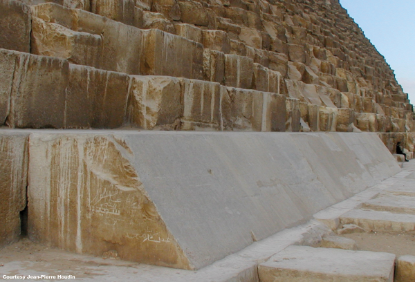 Some of the few remaining Tura limestone facing blocks at the base of Khufu's Pyramid (Photo courtesy of Jean-Pierre Houdin)