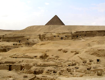 A view of Khufu's Pyramid from the quarry from which its blocks were culled, now known as the Central Mastaba Field (Photo by John Bodsworth)