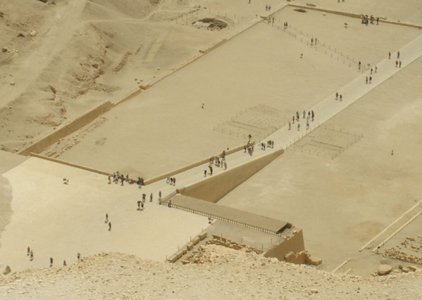 This aerial shot of the causeway to Hatshepsut's temple at Deir el-Bahri provides a neat depiction of what Hemienu's external ramp may have looked like, albeit much smaller! (Photo by Vyacheslav Argenberg)