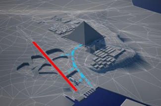 """The """"main construction causeway"""" (in red) and the natural ramp (in blue)"""