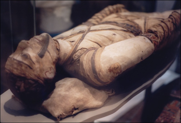 A fully wrapped and painted mummy, currently in the British Museum (Photo by Klafubra)