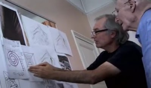 Jean-Pierre Houdin with his father, Henri, refining the internal ramp theory
