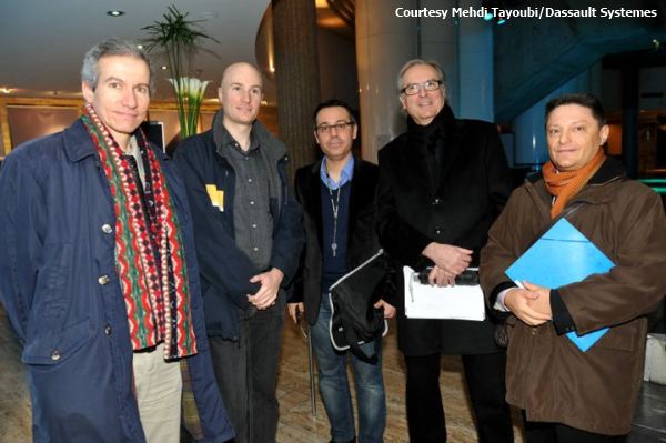 The Project Khufu Team at Laval University (left to right) Xavier Maldague, Matthieu Klein, Mehdi Tayoubi, Jean-Pierre Houdin, Richard Breitner (Courtesy Mehdi Tayoubi/ Dassault Systèmes)