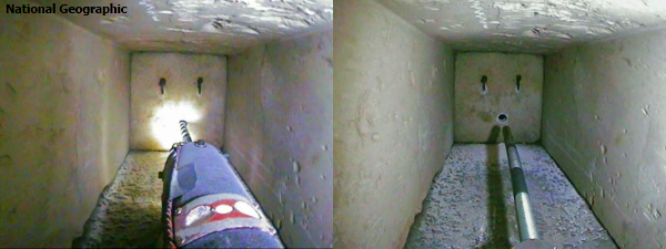 After drilling the peep-hole (left) Pyramid Rover returned with the probe camera deployed (right).