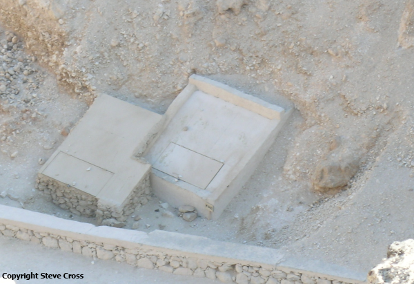 Close up of KV64 (left) and KV40 (right)—before being identified as a tomb in its own right, KV64 was simply called KV40b (Photo by Steve Cross)