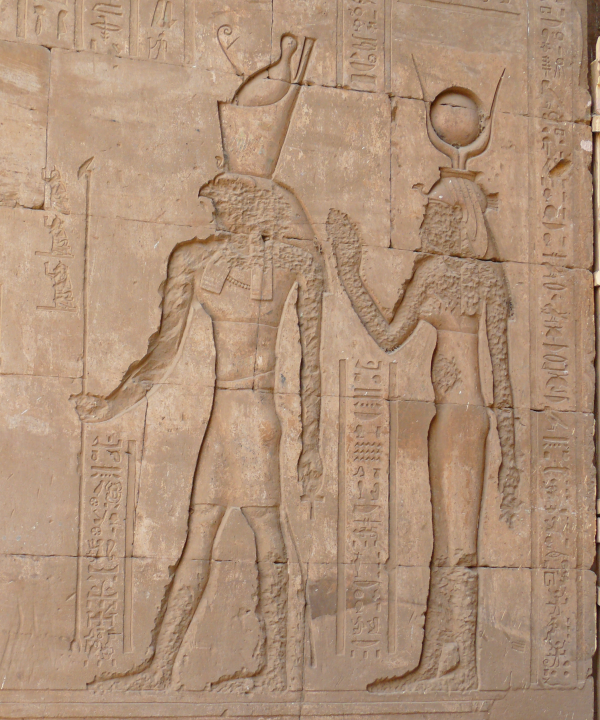 Horus and Hathor at the Temple of Horus at Edfu (Photo by Ad Meskens)