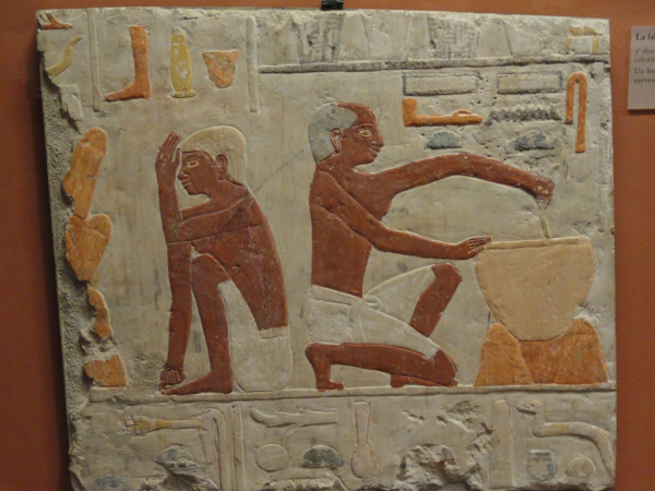 From the tomb of Metchetchi (Sixth Dynasty), preparing bread for the feast. Louvre e 17499, photo by Keith Payne.