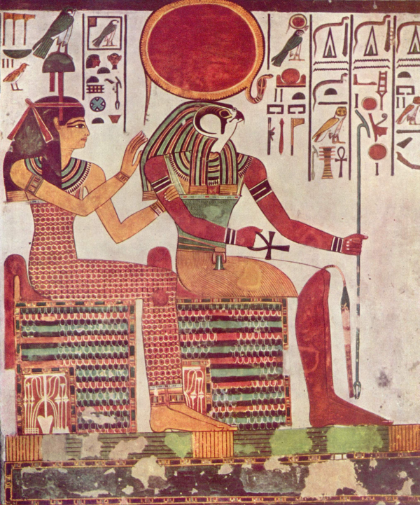 Hathor and Re, photo from the Yorck Project (public domain)