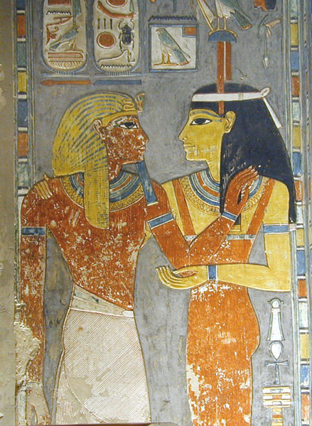 Hathor blesses pharaoh Horemheb, from the tomb of Horemheb, photo by Jean-Pierre Dalbéra, shared via Creative Commons.