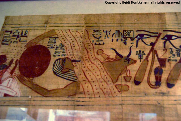 Goddess Hathor emerging from a mountain side as Mistress of the Necropolis. From the Funerary papyrus of Amunemwija (P3127). 21st Dynasty, Thebes. Neues Museum, Berlin.  (Photo by Heidi Kontkanen)