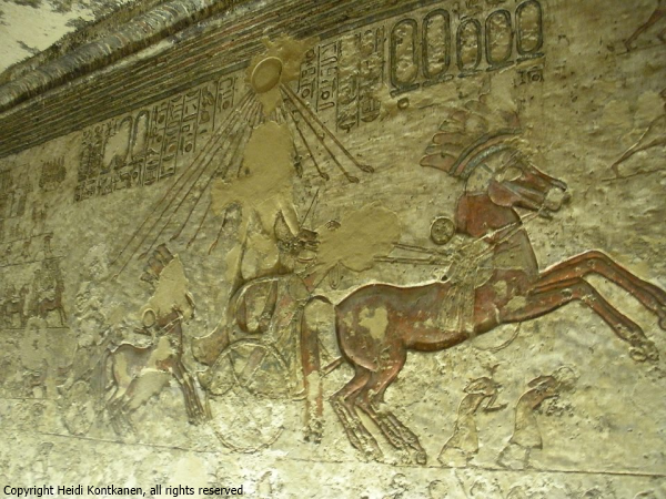 From the tomb of Meryre, Akhenaten and Nefertiti are going in separate chariots to the Great Aten Temple, their four daughters following in two smaller chariots (photo by Heidi Kontkanen)